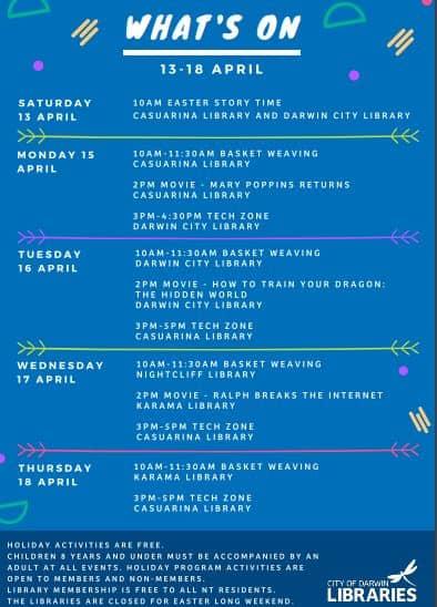 darwin libraries school holidays April 2019
