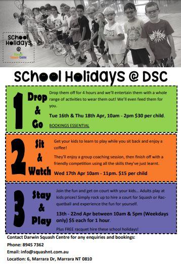 Squash school holidays